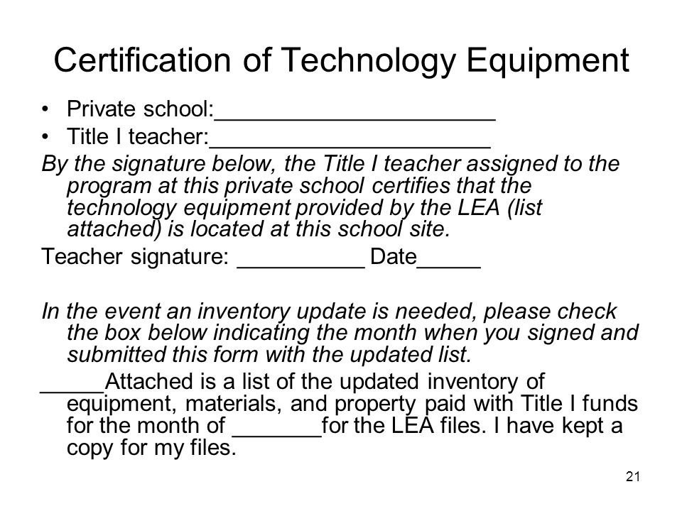 Certification of Technology Equipment