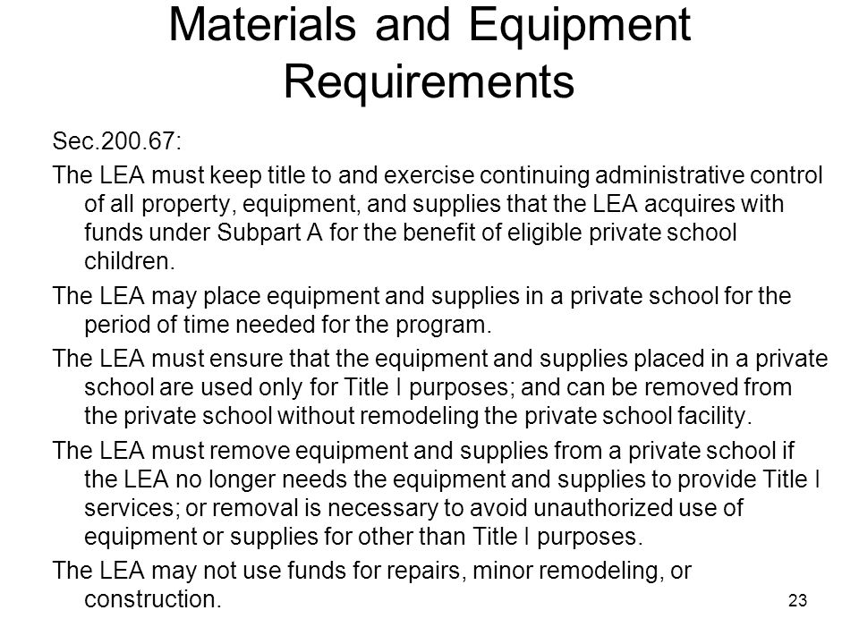 Materials and Equipment Requirements