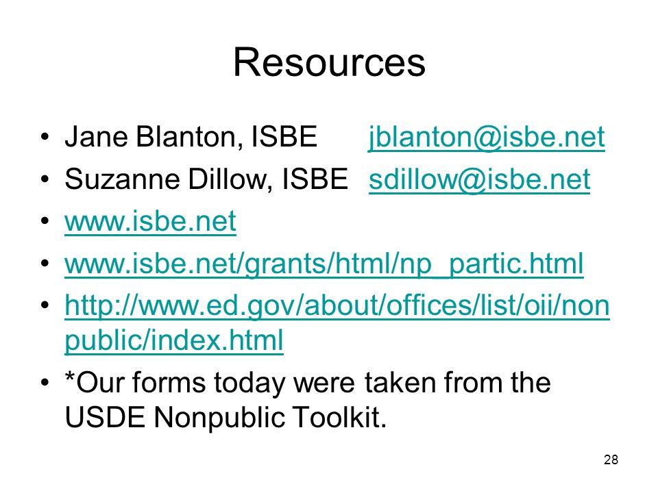 Resources Jane Blanton, ISBE jblanton@isbe.net