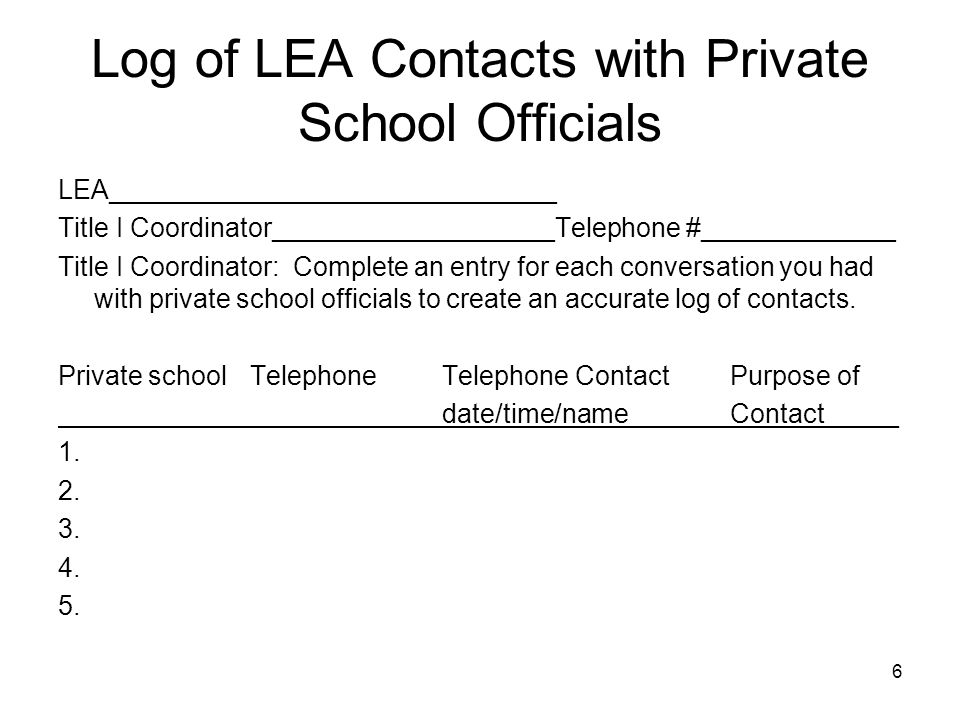 Log of LEA Contacts with Private School Officials