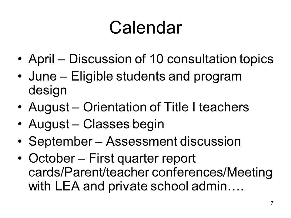 Calendar April – Discussion of 10 consultation topics