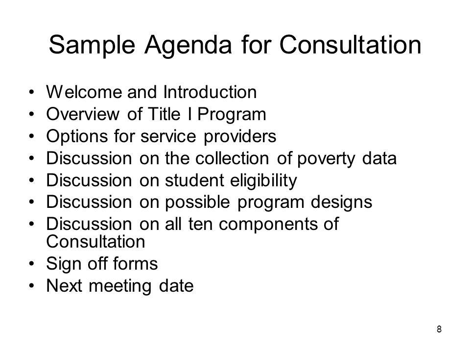 Sample Agenda for Consultation