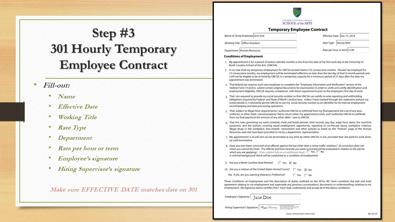 Step #3 301 Hourly Temporary Employee Contract
