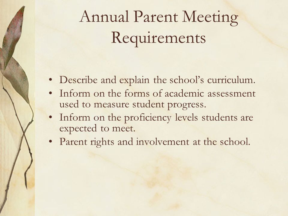 Annual Parent Meeting Requirements