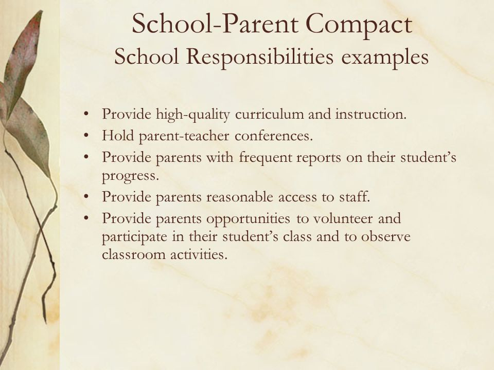 School-Parent Compact School Responsibilities examples