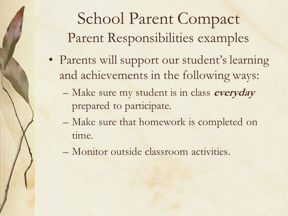 School Parent Compact Parent Responsibilities examples
