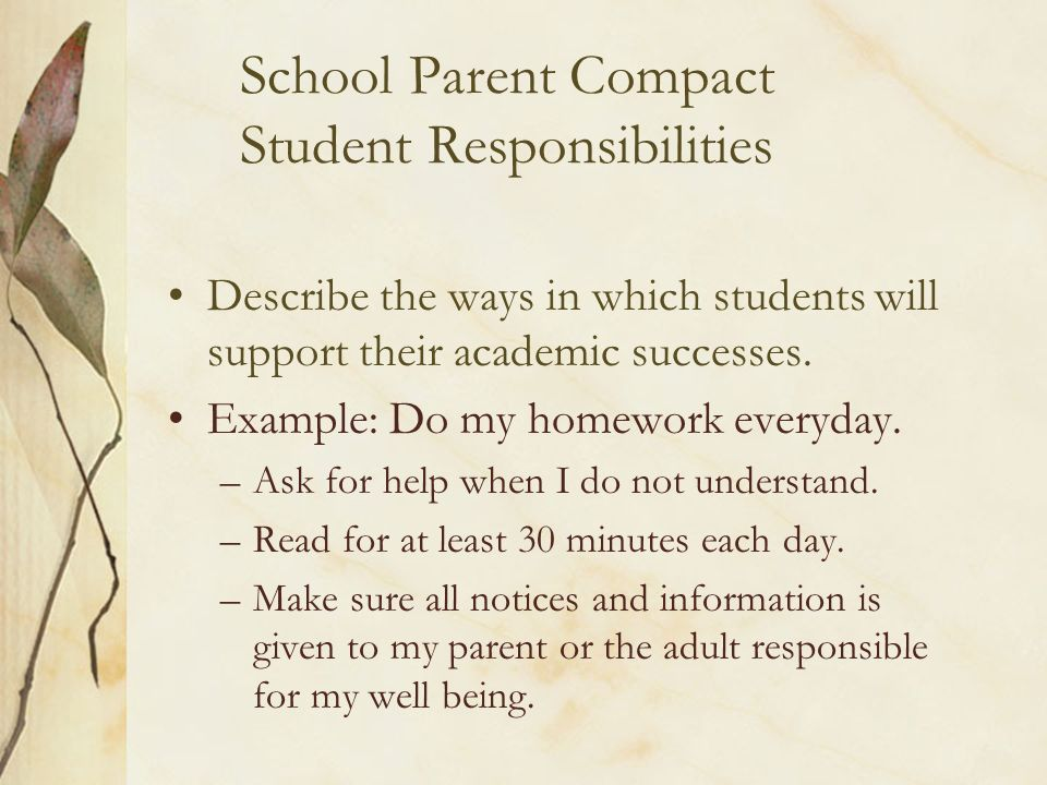 School Parent Compact Student Responsibilities