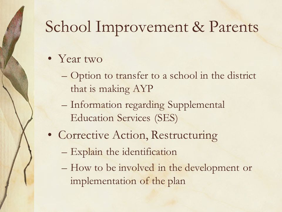School Improvement & Parents