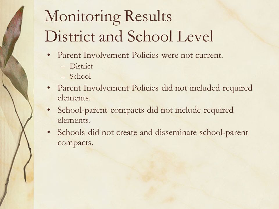 Monitoring Results District and School Level