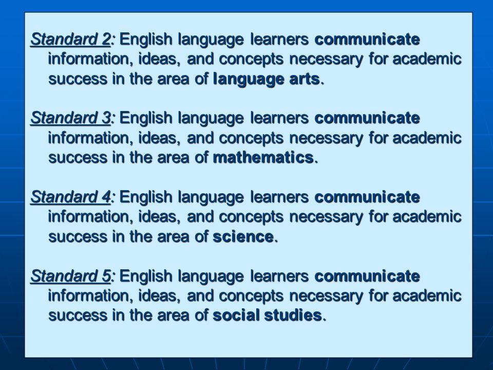 Standard 2: English language learners communicate
