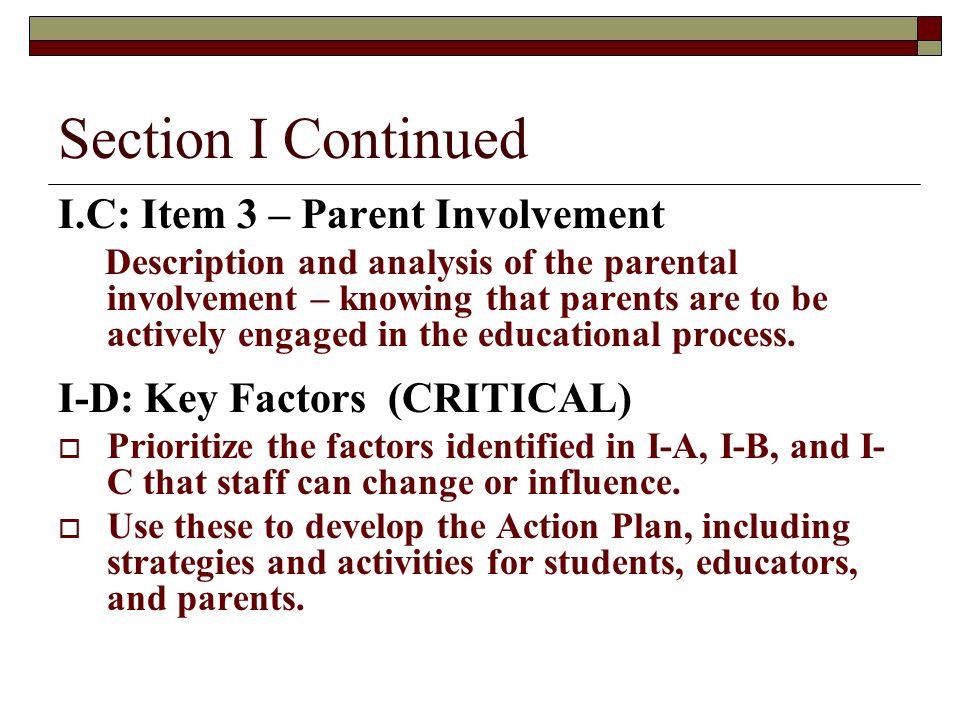 Section I Continued I.C: Item 3 – Parent Involvement