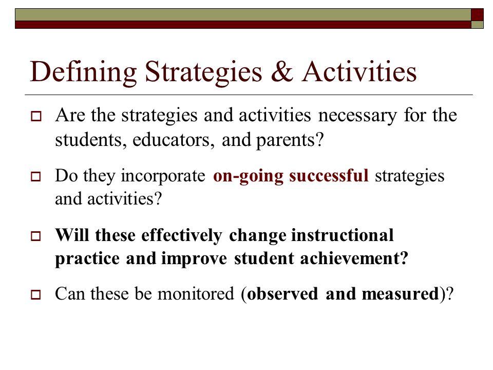 Defining Strategies & Activities