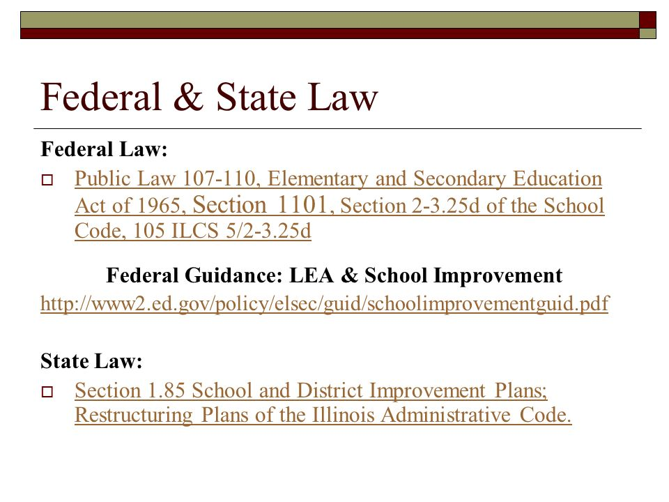 Federal Guidance: LEA & School Improvement