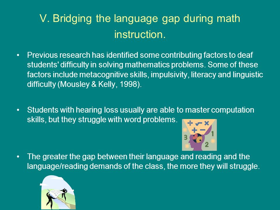 V. Bridging the language gap during math instruction.