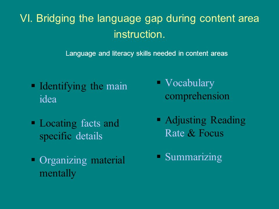 VI. Bridging the language gap during content area instruction.
