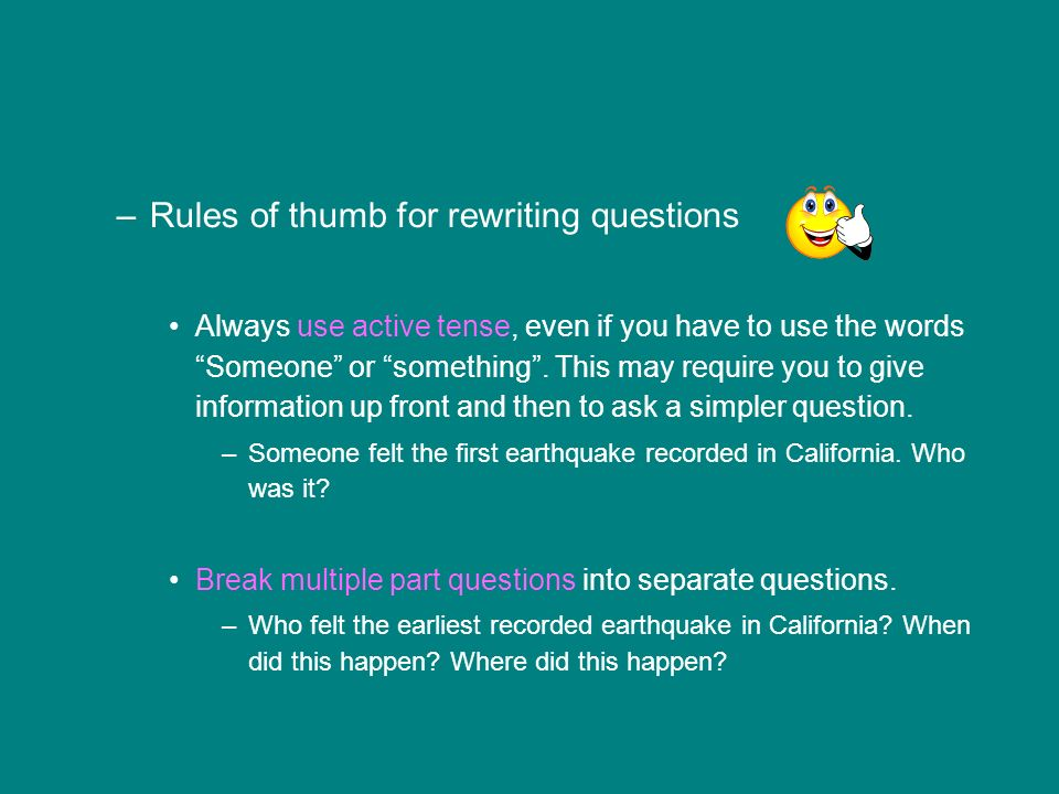 Rules of thumb for rewriting questions