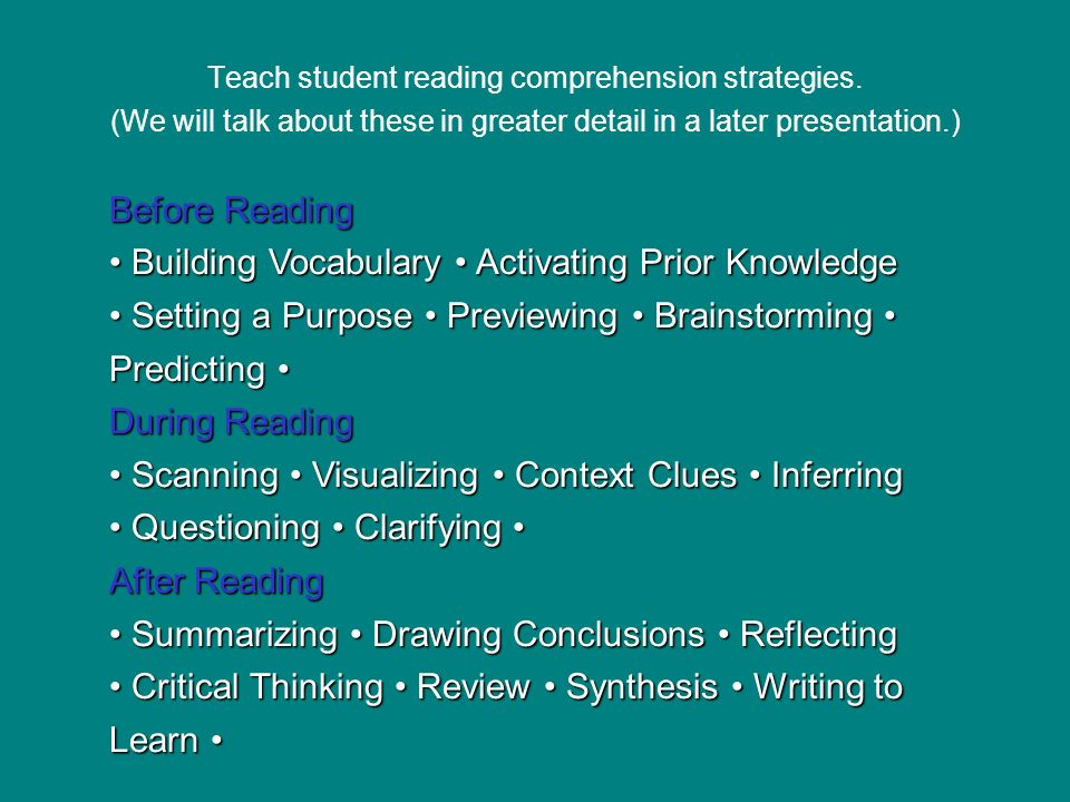 Teach student reading comprehension strategies