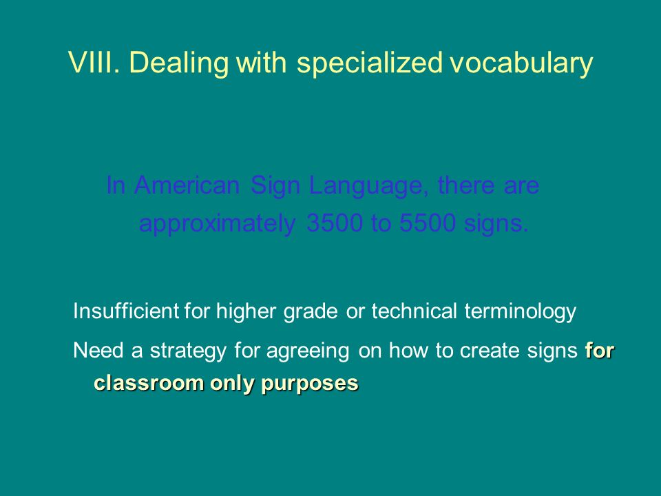 VIII. Dealing with specialized vocabulary
