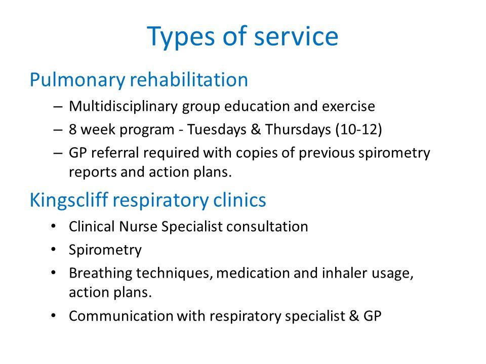 Types of service Pulmonary rehabilitation