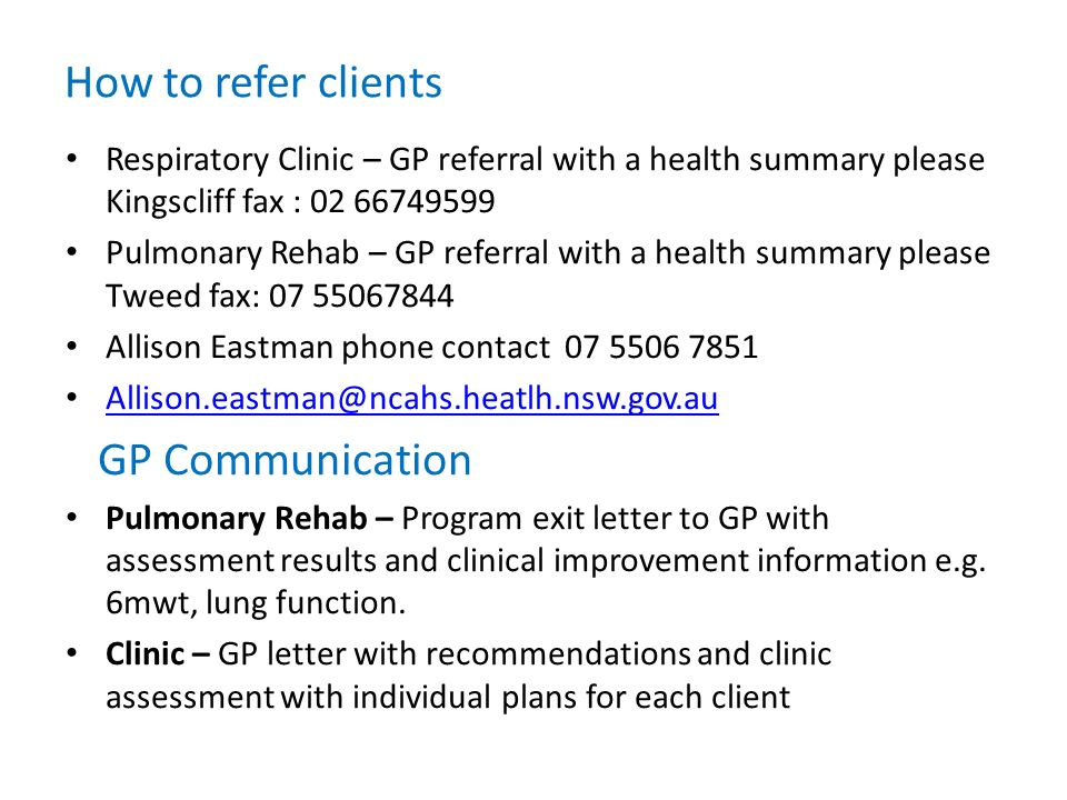 How to refer clients GP Communication
