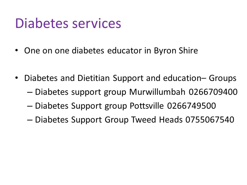 Diabetes services One on one diabetes educator in Byron Shire