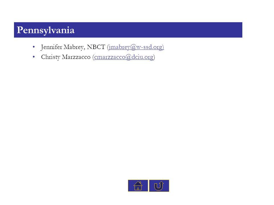 Pennsylvania Jennifer Mabrey, NBCT (jmabrey@w-ssd.org)
