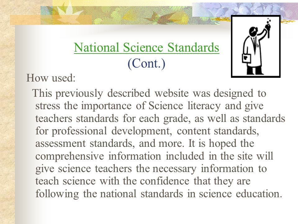 National Science Standards (Cont.)
