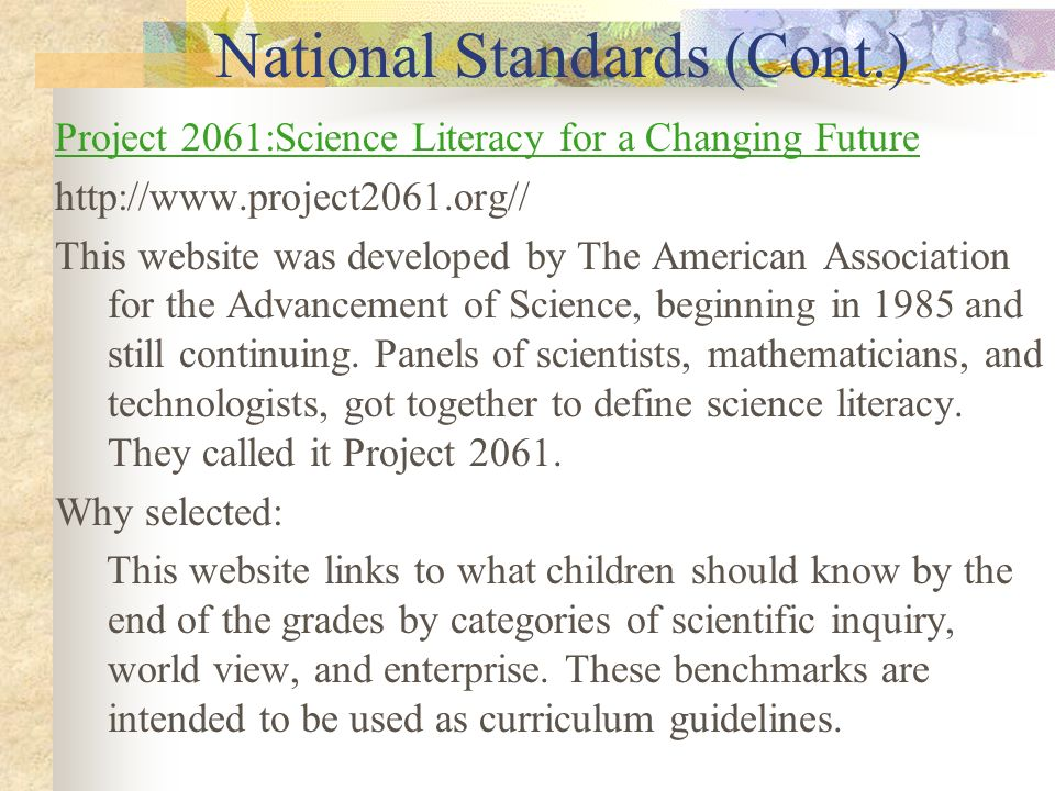 National Standards (Cont.)