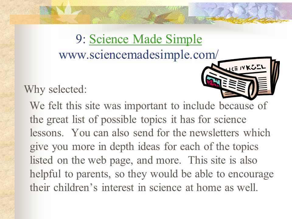 9: Science Made Simple www.sciencemadesimple.com/