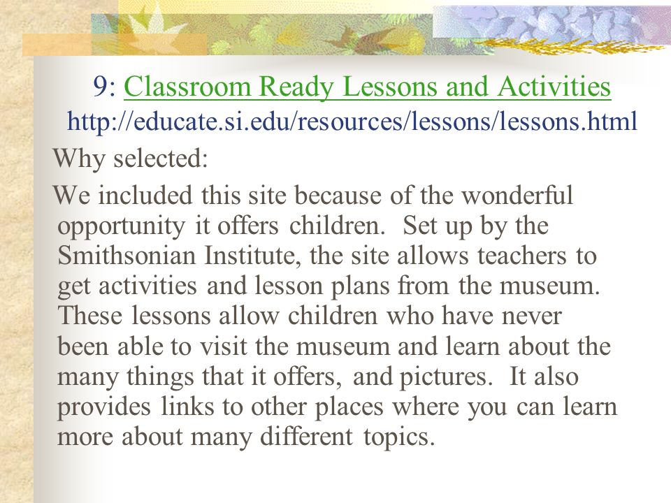 9: Classroom Ready Lessons and Activities http://educate. si