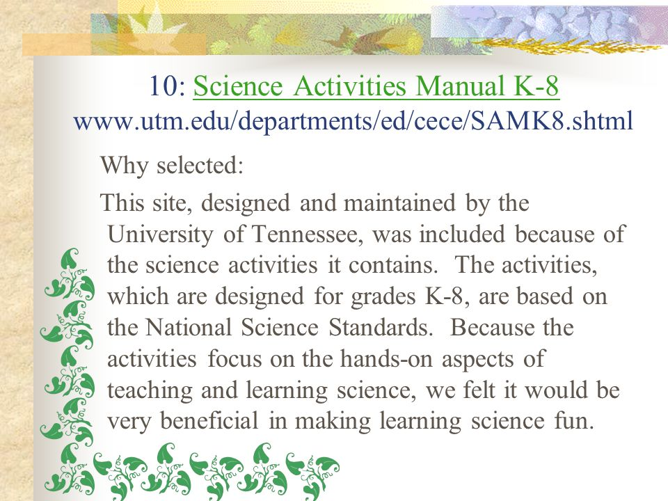 10: Science Activities Manual K-8 www. utm