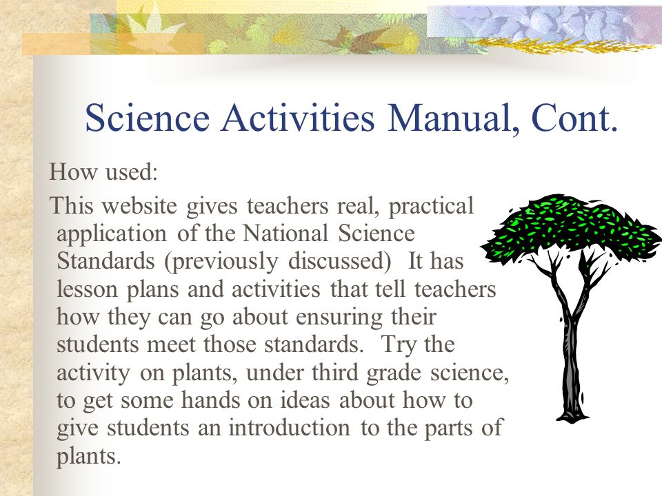 Science Activities Manual, Cont.