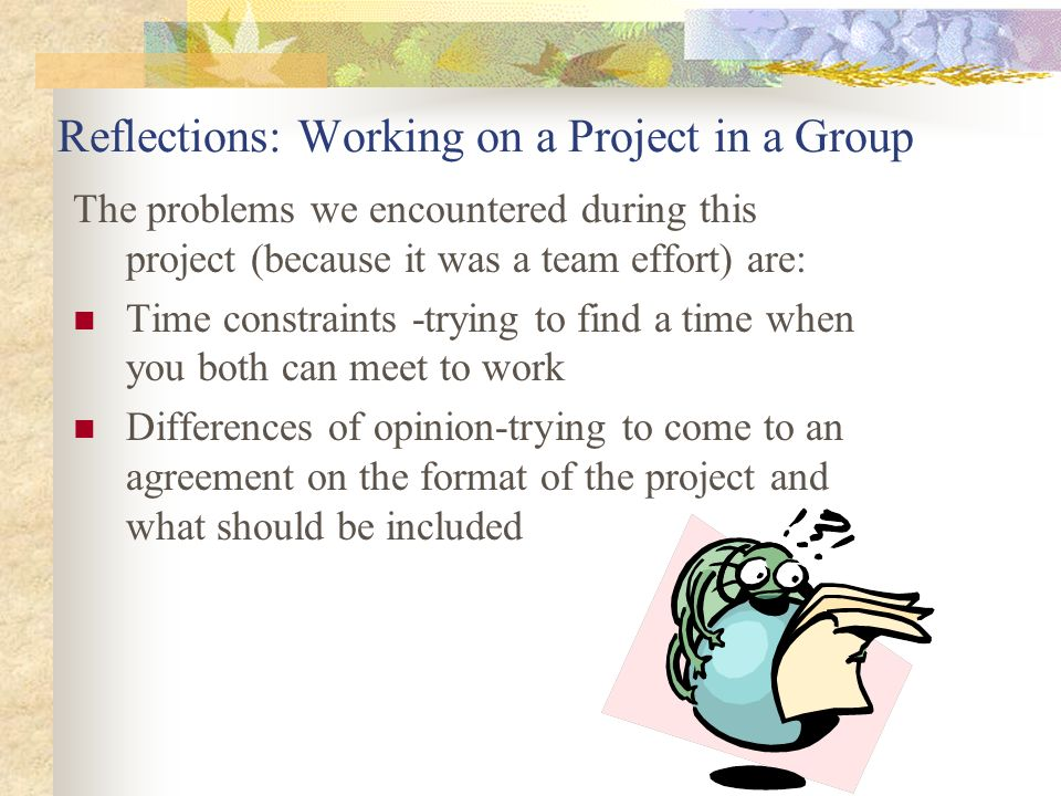 Reflections: Working on a Project in a Group