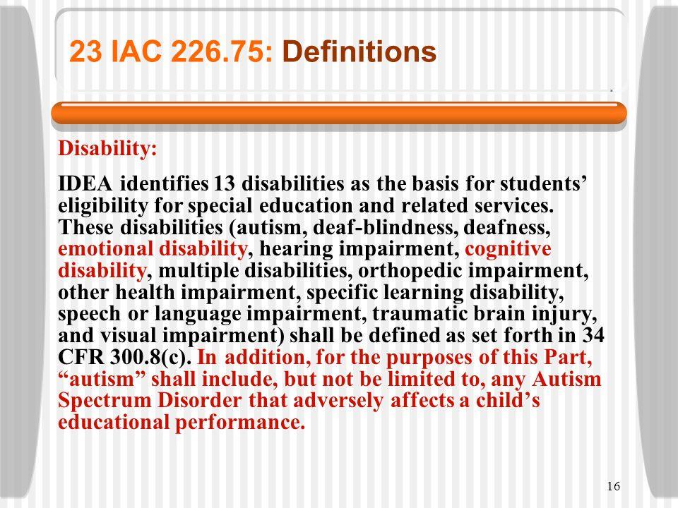 23 IAC 226.75: Definitions Disability: