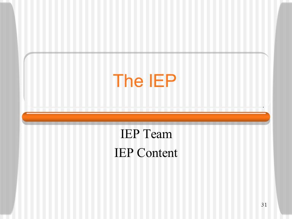 The IEP IEP Team IEP Content