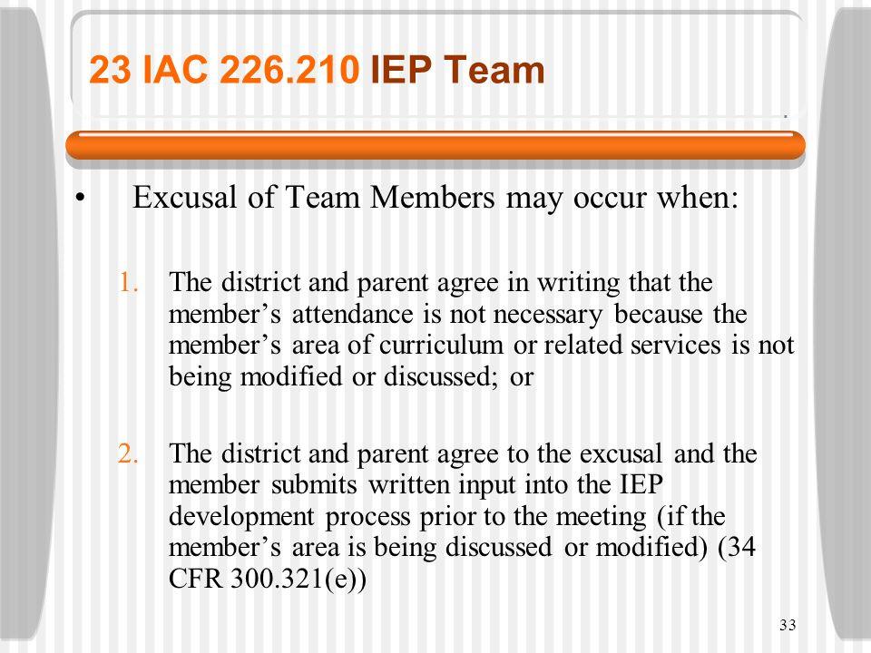 23 IAC 226.210 IEP Team Excusal of Team Members may occur when: