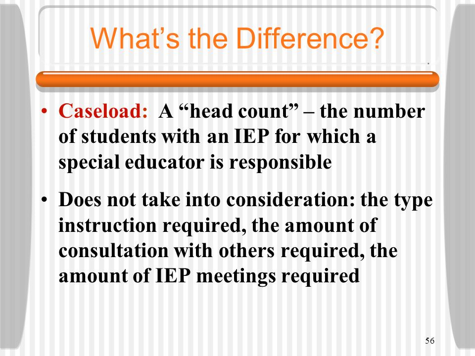 What's the Difference Caseload: A head count – the number of students with an IEP for which a special educator is responsible.