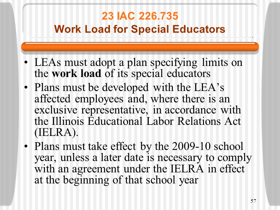 23 IAC 226.735 Work Load for Special Educators