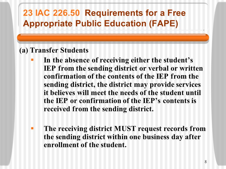 23 IAC 226.50 Requirements for a Free Appropriate Public Education (FAPE)