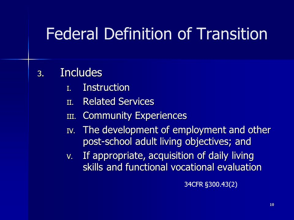 Federal Definition of Transition
