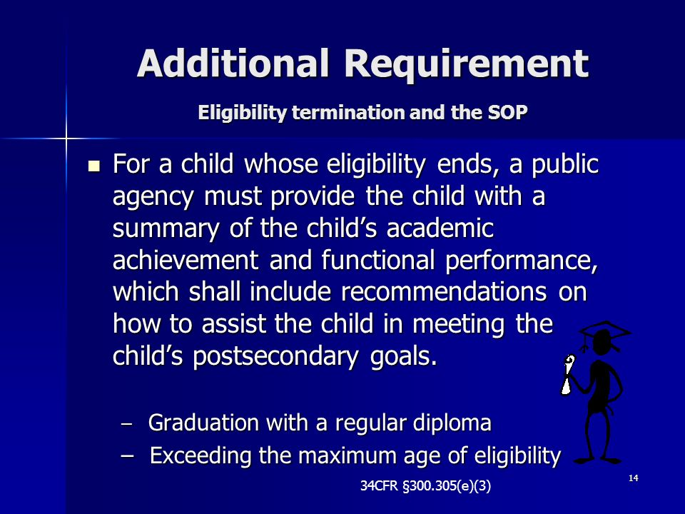 Additional Requirement Eligibility termination and the SOP