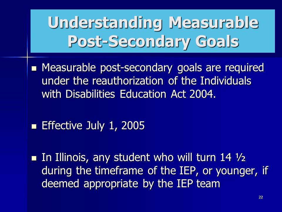 Understanding Measurable Post-Secondary Goals