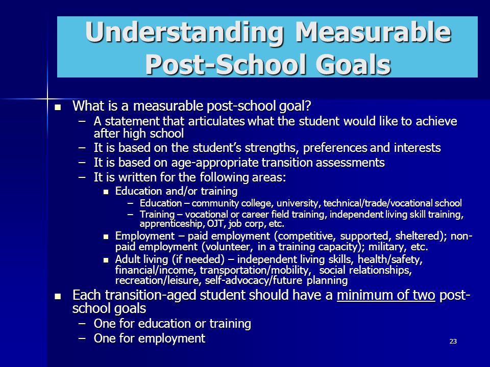 Understanding Measurable Post-School Goals