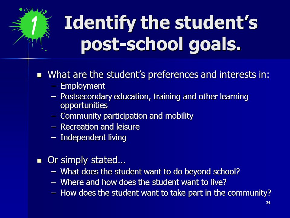 Identify the student's post-school goals.