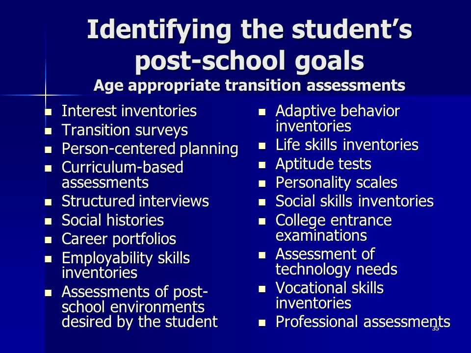 Identifying the student's post-school goals Age appropriate transition assessments