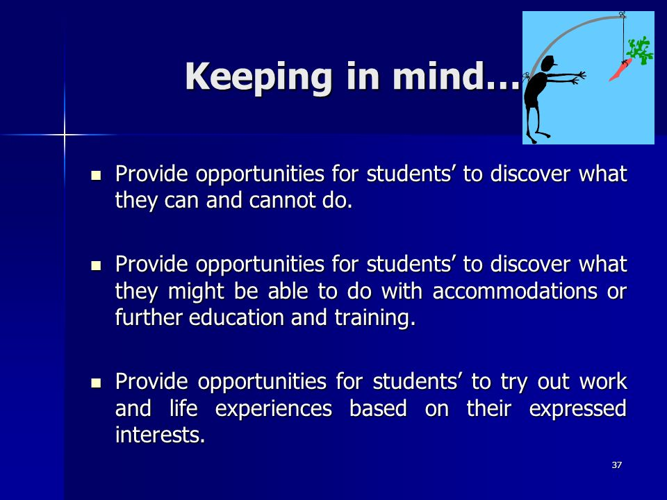 Keeping in mind… Provide opportunities for students' to discover what they can and cannot do.