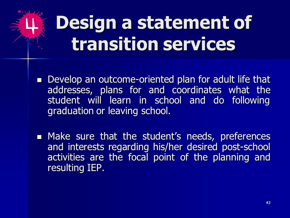 Design a statement of transition services