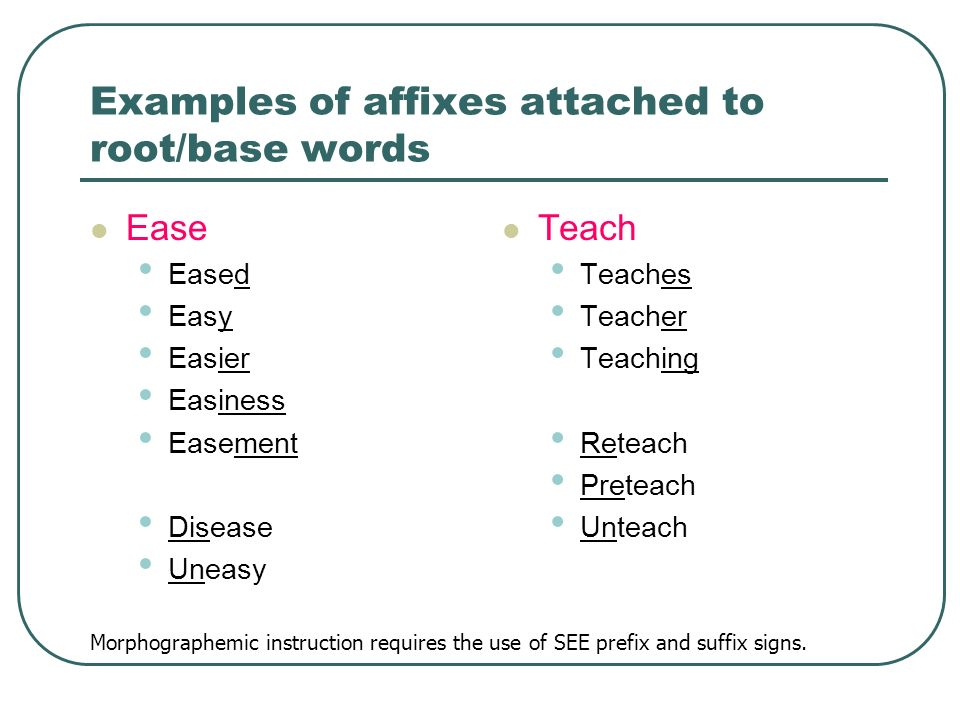 Examples of affixes attached to root/base words