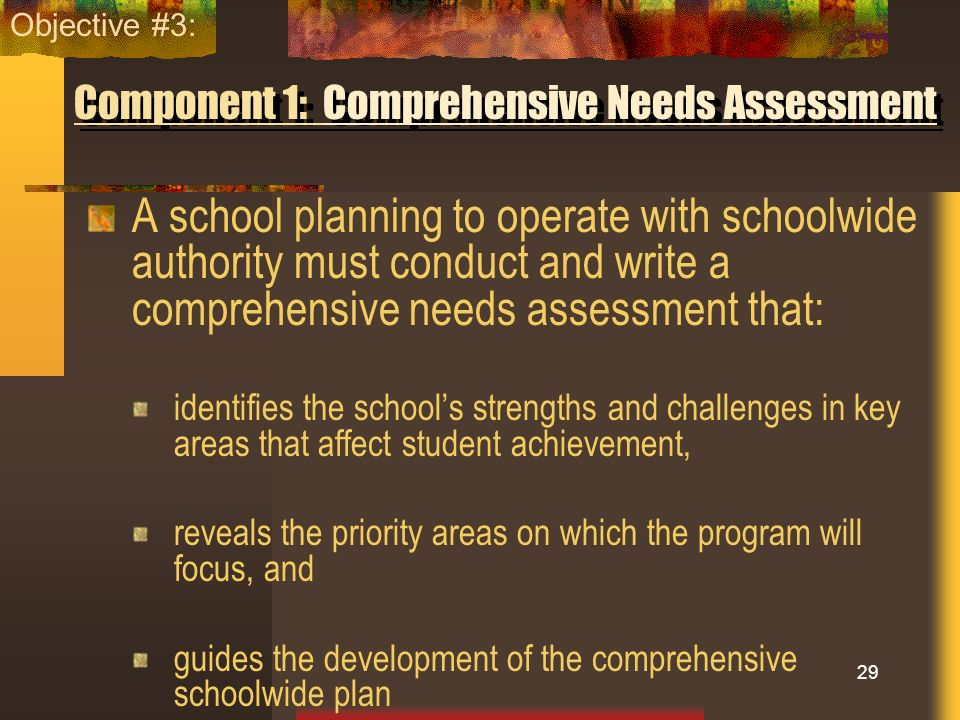 Component 1: Comprehensive Needs Assessment