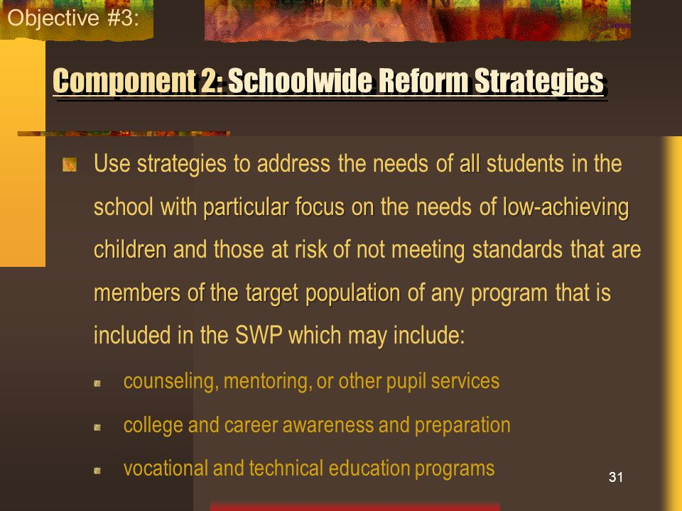 Component 2: Schoolwide Reform Strategies